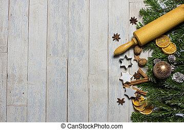 Card Concept fir, christmas balls and christmas bakery...