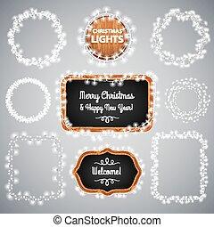 White Christmas Lights on Blackboard for Celebratory Design....