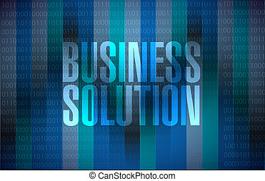 Business Solution message binary sign concept illustration...