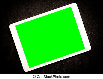 Tablet with green screen - Tablet computer with green screen...