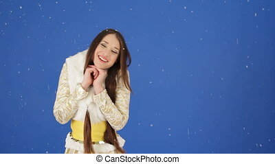 Pretty Snow Maiden Enjoying Falling Snow In Studio