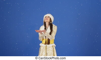 Happy Snow Maiden Enjoying Falling Snow In Studio