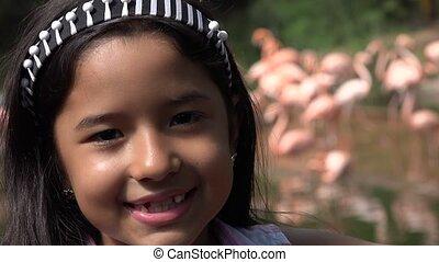 Child Near Flamingos