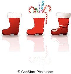 Santa clause boots set - Vector set of santa clause boots