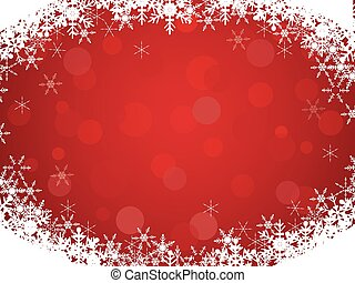 Red background with snowflake frame