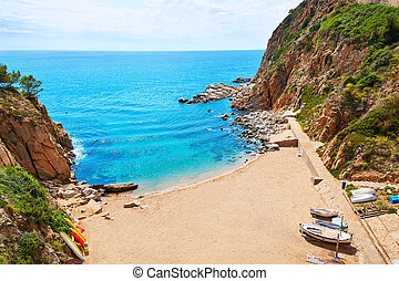 Tossa de Mar Codolar beach platja in Costa Brava of...