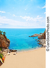 Tossa de Mar Codolar beach platja in Costa Brava of...