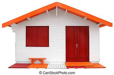 Wooden prefabricated house isolated on white background with...