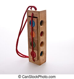 Wood Blocks - Wooden blocks puzzle with indents of different...