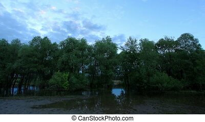 Sunset, Spring flood in the river