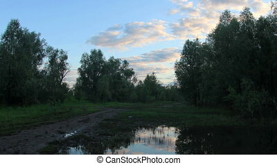 Sunset, Spring flood in the river Irtysh Krasny Yar,...