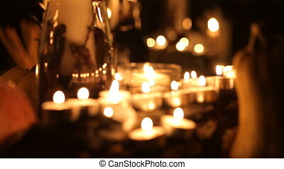 Halloween holiday table with candles
