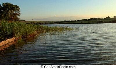Sunset on the river Seversky Donets Koksoviy village, Rostov...