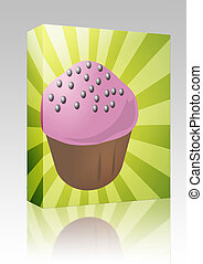 Cupcake illustration box package - Software package box...