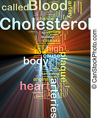 Cholesterol word cloud glowing - Word cloud concept...