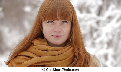 Beautiful Young Girl Looking At Camera In Winter Forest -...