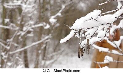 Pretty Girl Walking In Winter Forest