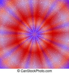 Esoteric picture of glowing ring in red and purple colors
