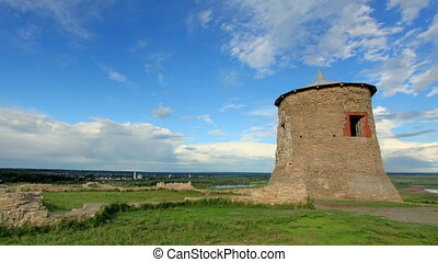 Movement of clouds over the Tower of ancient Bulgar fortress...