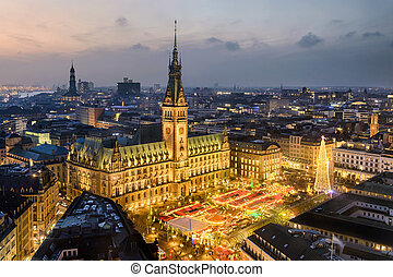City Hall of Hamburg, Germany - Aerial view of the City Hall...