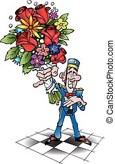 Piccolo with flowers.eps - Vector cartoon illustration of a...