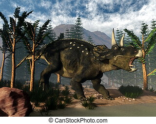 Nedoceratops roaring while running - 3D render -...