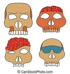 Skulls vector illustration - Set of four Hand Drawn Skulls...