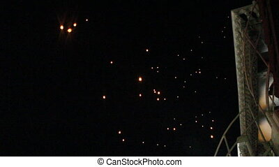 Fire lantern launching during loy krathong festival, stock...