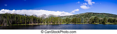 scenic view of the rocky mountain national park, sprague lake