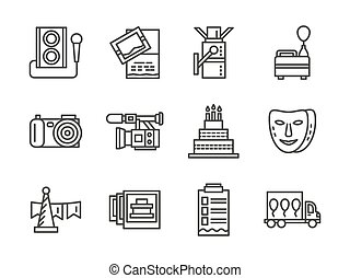 Event agency black simple line vector icons set