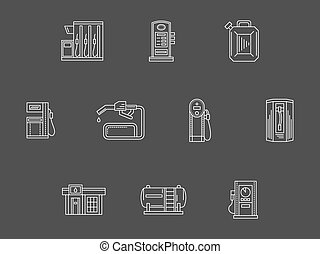 White line filling station vector icons collection - Gas...