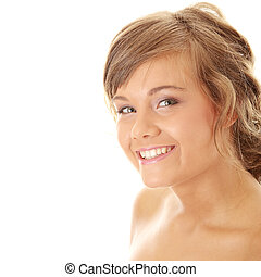 Close-up, portrait of a beautiful woman getting ready for...
