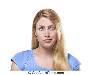 PoBlonde woman making pout - Portrait of a beautiful young...