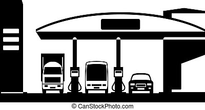Truck, bus and car at gas station - vector illustration