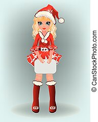 Little cute santa girl, vector
