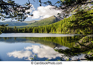 landscape of rocky mountain glacial lake - landscape of a...