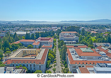 Aerial View of Berkeley University Campus and San Francisco...