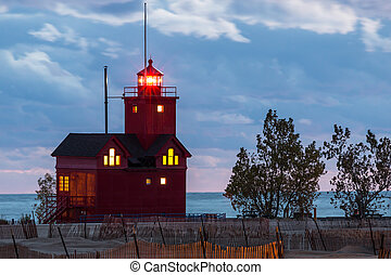 Holland light house - Holland Light house at night
