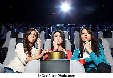 Crying girls - Lovely girls cry at viewing at cinema