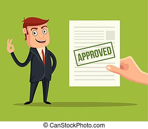 Approved application. Vector flat illustration