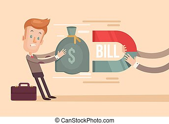 Large charges Vector flat illustration