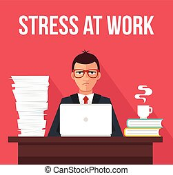 Stress at work. Vector flat illustration