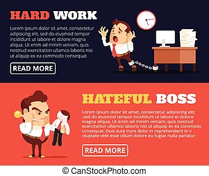 People hate their jobs Vector flat banner illustration set