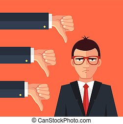 Angry businessman and many hands with thumbs down. Vector...