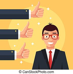 Happy businessman and many hands with thumbs up. Vector flat...