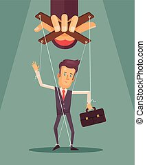 Worker marionette on ropes controlled boss hand Vector flat...