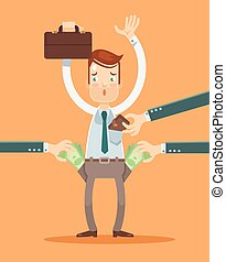 Office worker get robbery Vector flat illustration
