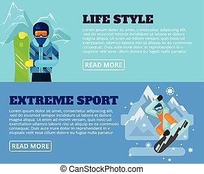 Extreme sport. Vector flat banner illustration set