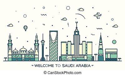 Skyline Saudi Arabia Trendy vector linear style - Skyline...