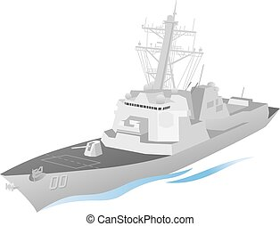 Naval Ship Vector - Simple and clean, naval warship vector...
